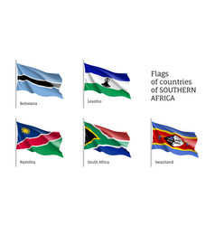 Southern africa flat flag set vector