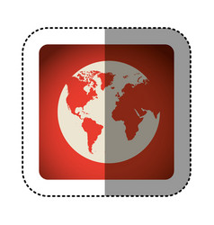 sticker color square with map of the world vector image