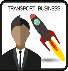 Transport business flat design with a person and a vector