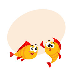 two golden fish characters showing thumb up vector image vector image
