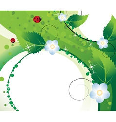 Wildflowers and ladybugs vector