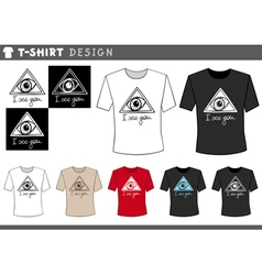 T shirt design with eye vector