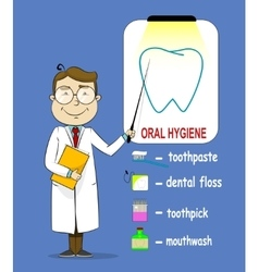 Oral hygiene banners with cute cartoon doctor vector image