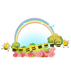 Hanging clothes with bees vector