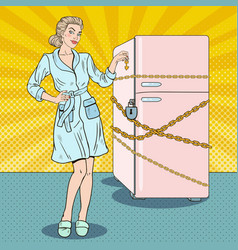 Pop art woman on diet with refrigerator lock vector