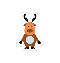 paper sticker on white background santa reindeer vector image