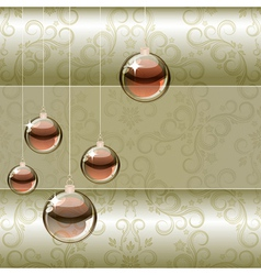 Christmas background with transparent balls vector
