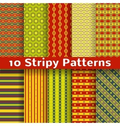 Different colorful stripy seamless patterns tiling vector