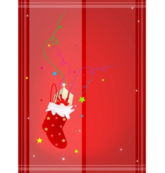 Red background of gift boxes in christmas stocking vector