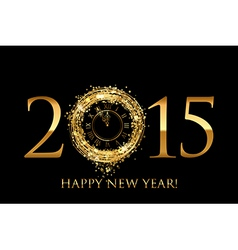 2015 Happy New Year background with gold shiny vector image