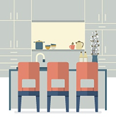 Modern flat design kitchen interior vector