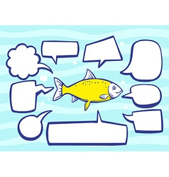 Fish with speech comics bubbles on blue p vector