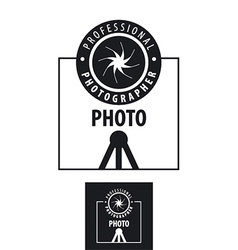 logo for photographer lens on a tripod vector image