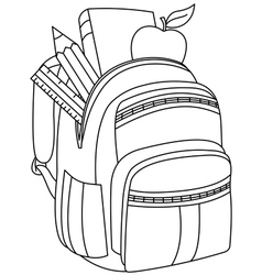 outlined school backpack vector image