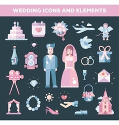 Set of flat design wedding marriage icons and vector