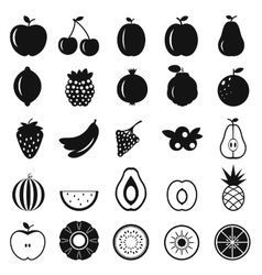 Fruits simple icons vector