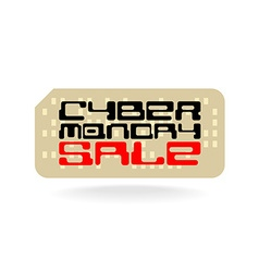Cyber monday sale badge with techno font and retro vector