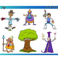 Fantasy cartoon characters set vector