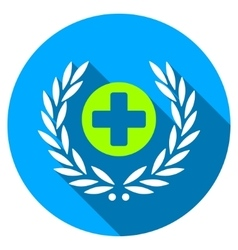 Health care embleme flat round icon with long vector