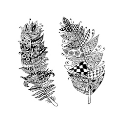 Art feather zentangle style for your design vector