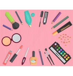 Set of colorful cosmetic isolated on a pink vector image