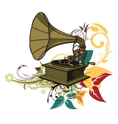 Gramophone with floral vector