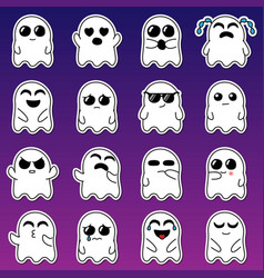 Baby ghost stickers set vector
