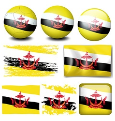 Brunei flag on different items vector image vector image