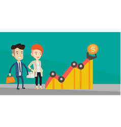 Business profit chart with robotic arm vector