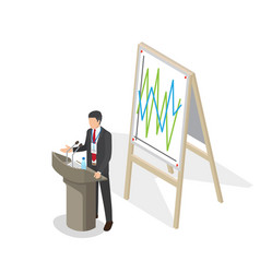 businessman presentation at podium with schedule vector image