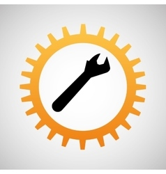 construction gear icon wrench vector image