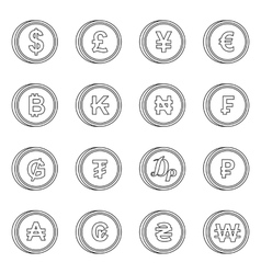 Currency from different countries icons set vector image vector image