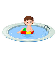 Cute little kids swimming with inflatable circle vector