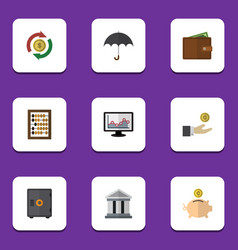Flat icon gain set of parasol strongbox billfold vector