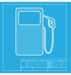 Gas pump sign white section of icon on blueprint vector