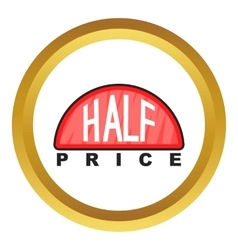 Half price label icon vector