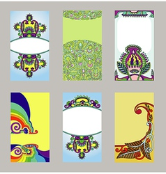 hand draw ornate floral cards set vector image