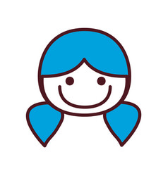 Hand drawing silhouette front face girl with blue vector