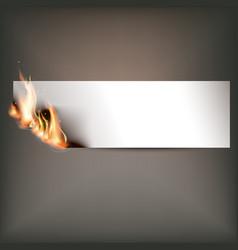 Hot fire banner with orange flames for your design vector