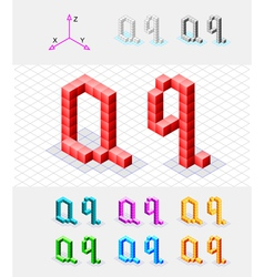 Isometric font from the cubes Letter Q vector image