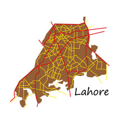 lahore city map color flat panoramic vector image