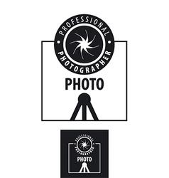 Logo for photographer lens on a tripod vector