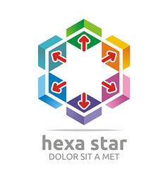 Logo hexa house arrow design icon symbol star vector