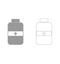 medicine bottle grey set icon vector image vector image