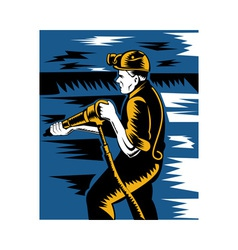 miner with pneumatic drill vector image