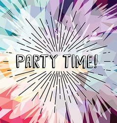 party time text show sunrays retro theme vector image vector image