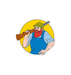 Paul bunyan the hunter circle drawing vector