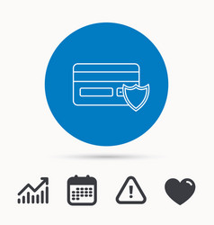 Protection credit card icon shopping sign vector