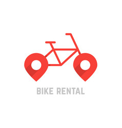 Red bike rental logo with map pin vector