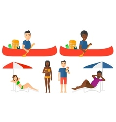 set of traveling people vector image